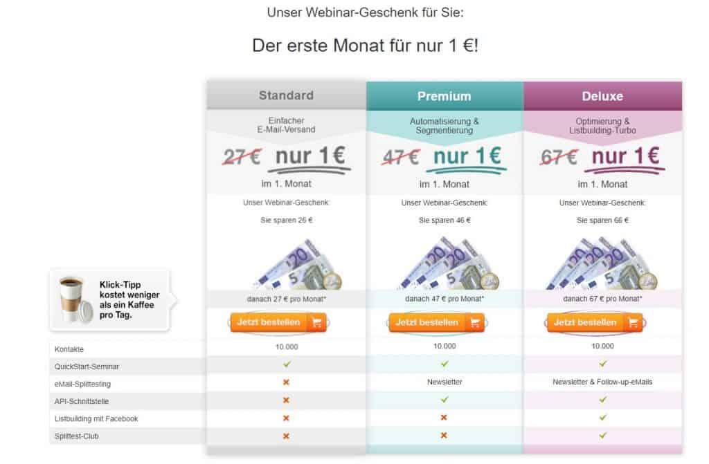 klick tipp für 1 euro testen